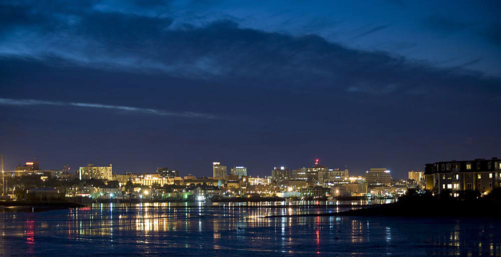 Portland, Maine skyline at night